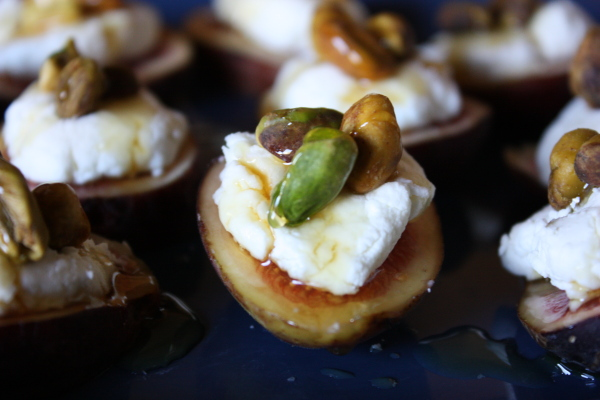 Fresh figs with goat cheese pistachios and honey for Canape appetizer