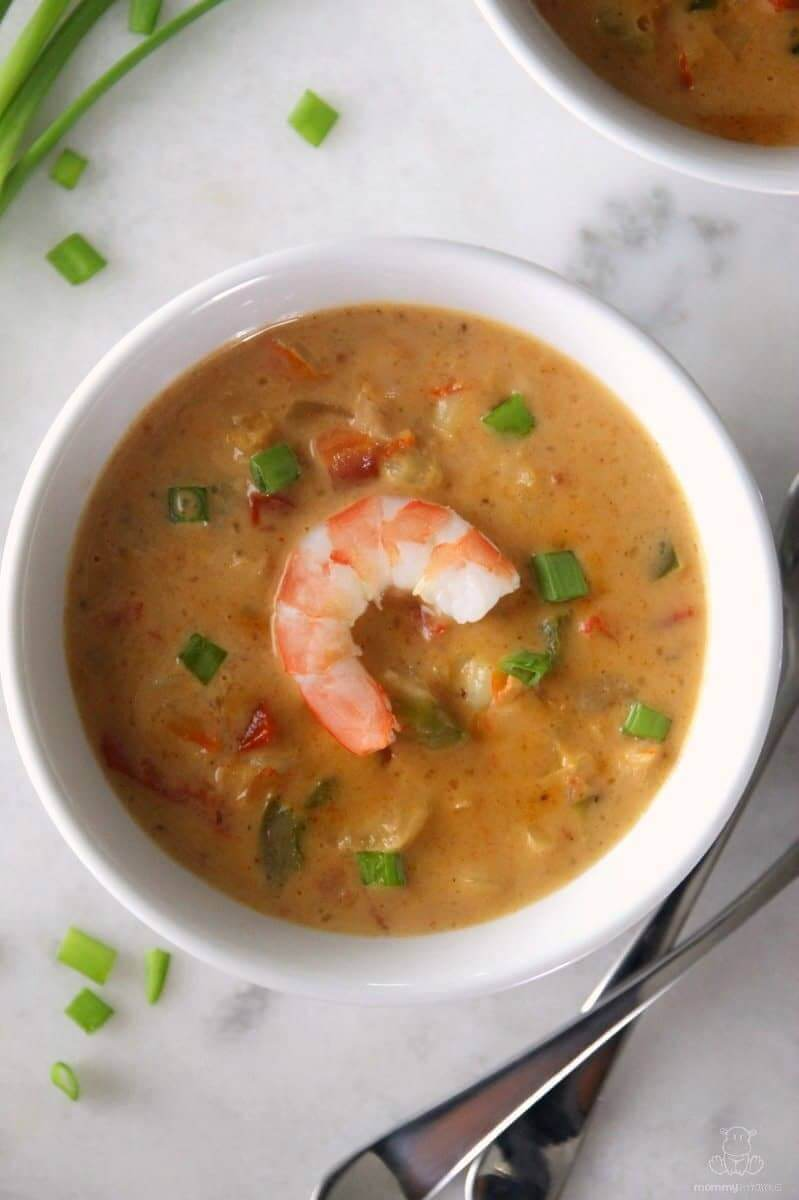 In this shrimp bisque, rich cream is folded into a briny stock, then blended with bay seasoning, paprika, loads of shrimp, ripe tomato, and a touch of sherry. It's delish - one of my husband's favorite recipes!