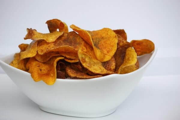 baked butternut squash chips in a bowl