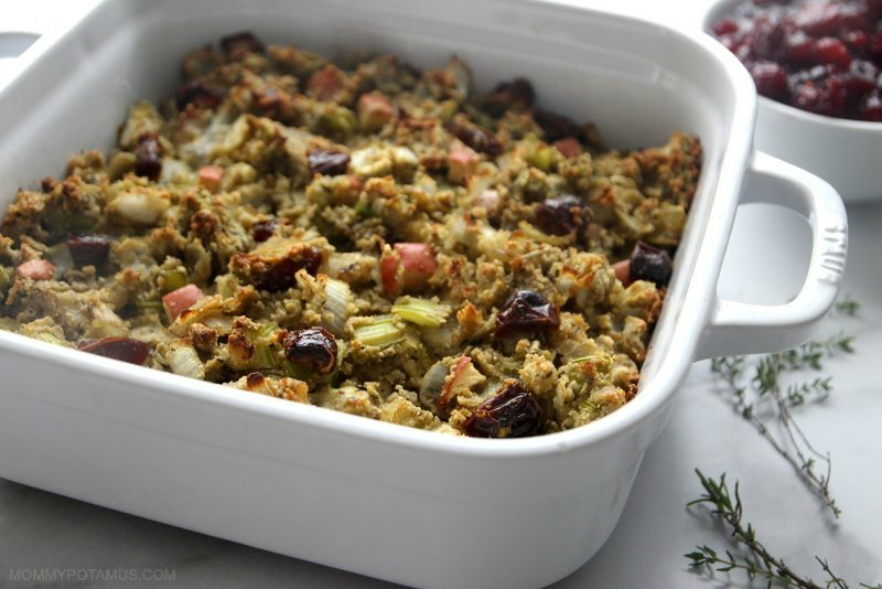 Gluten-free stuffing in casserole dish on table