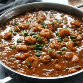 Gluten-free shrimp creole in stainless steel pan