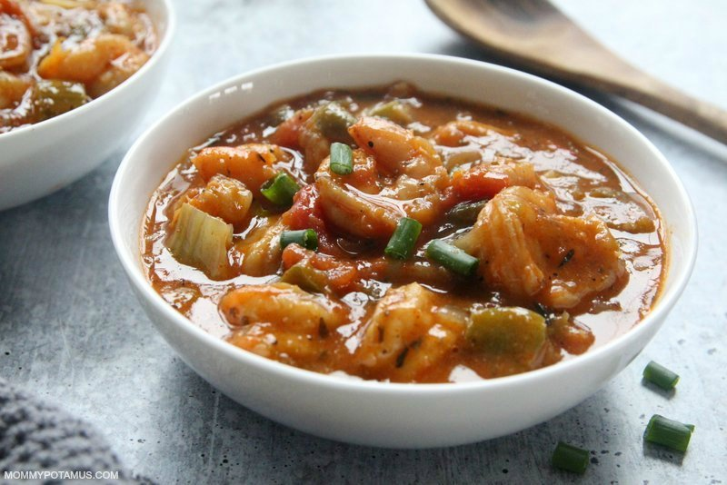 Gluten-free shrimp creole in a bowl