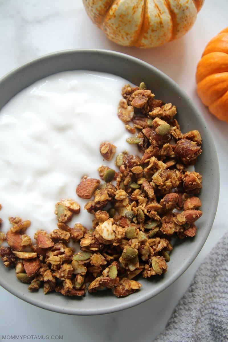 Overhead view of pumpkin spice granola and yogurt in bowl