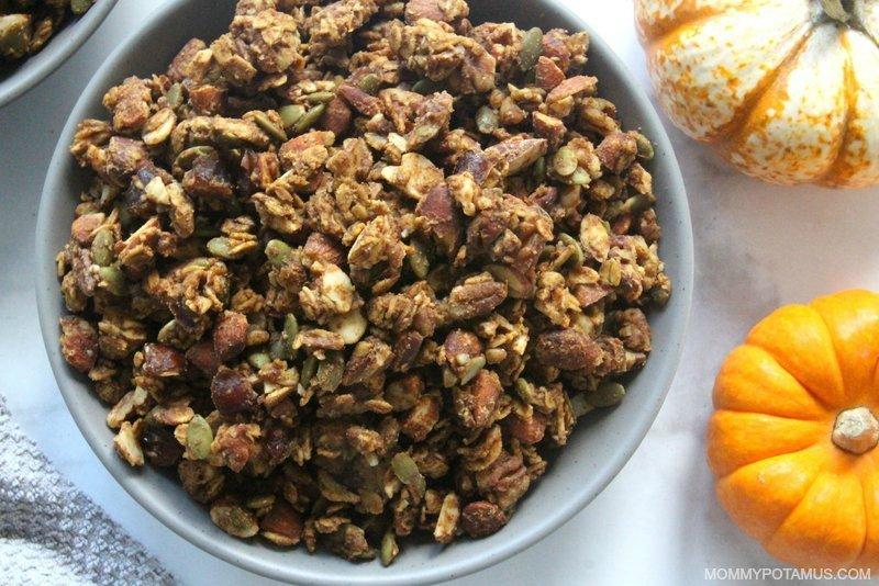 Homemade pumpkin spice granola in bowl
