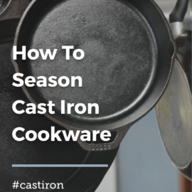 cast iron pans hanging from a hook in the kitchen
