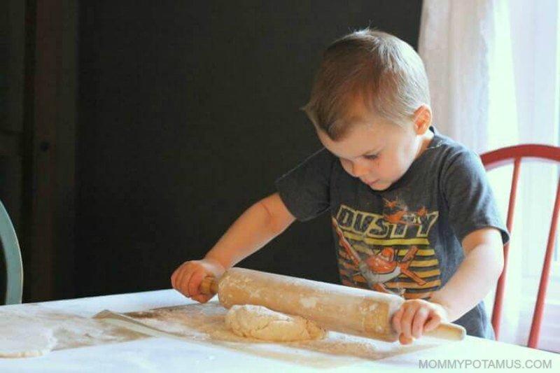 Rolling out salt dough for ornaments