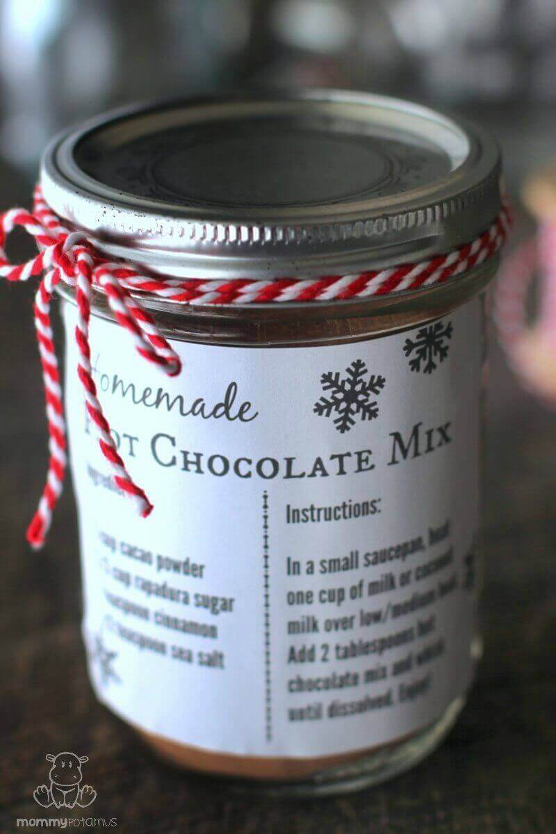 This homemade hot chocolate mix recipe is easy to put together and makes a delightful gift for teachers, friends, grandparents, co-workers, neighbors, and whomever else you want to make smile. Make some for yourself too, of course!