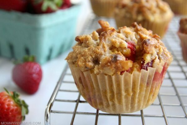 Gluten-free strawberry muffins on cooling rack