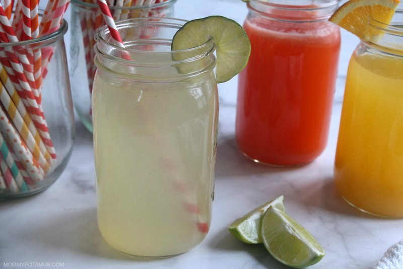 Coconut water and lime electrolyte drink in a mason jar