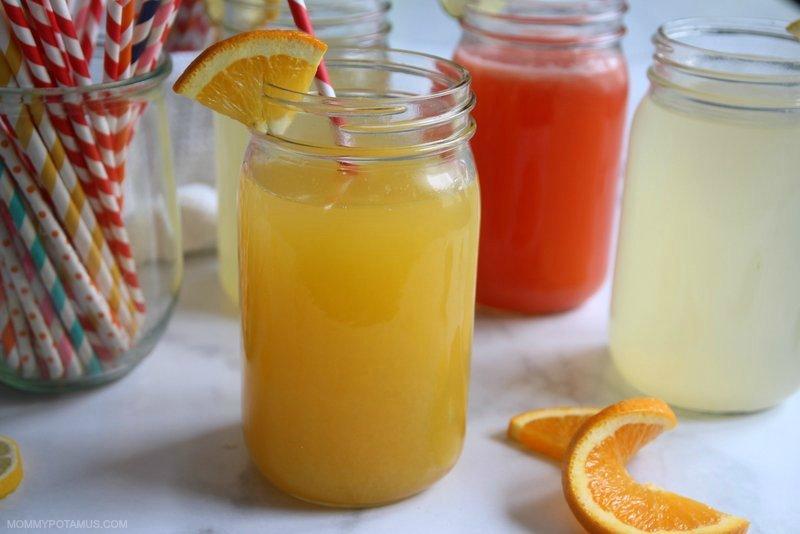 Orange DIY electrolyte drink in a mason jar