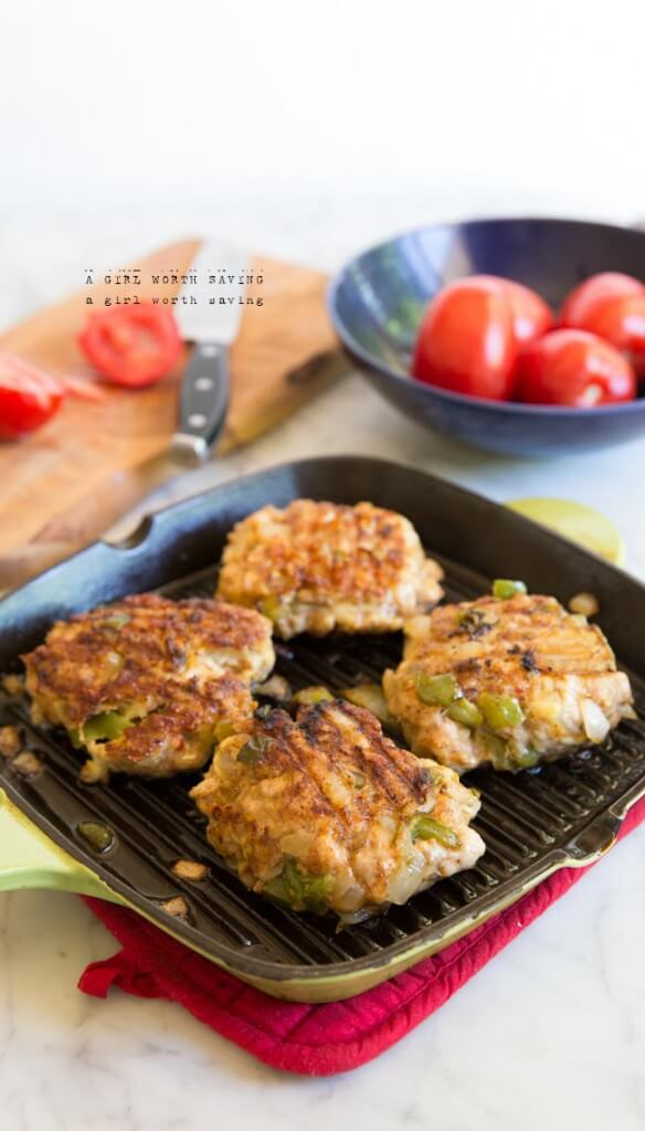 Paleo Chicken Fajita Burgers - Spiced chicken, onions and bell peppers ...