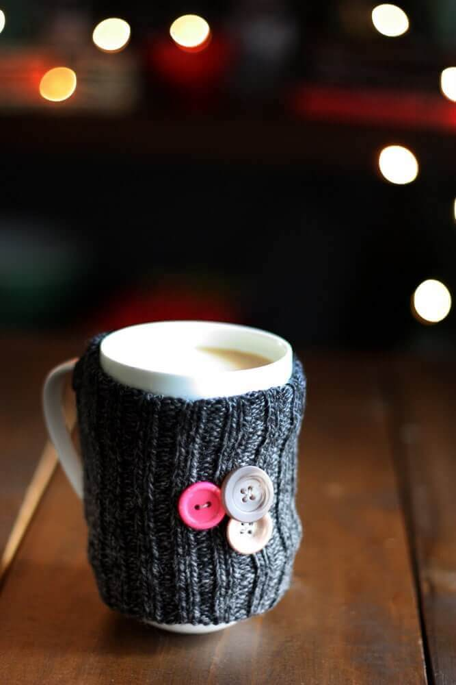 diy sock cozy for coffee mug