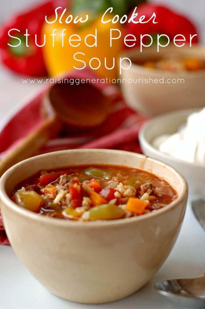 Easy Stuffed Pepper Soup #crockpotmeal #crockpotdinner #slowcookerdinner #crockpotsoup #slowcookersoup