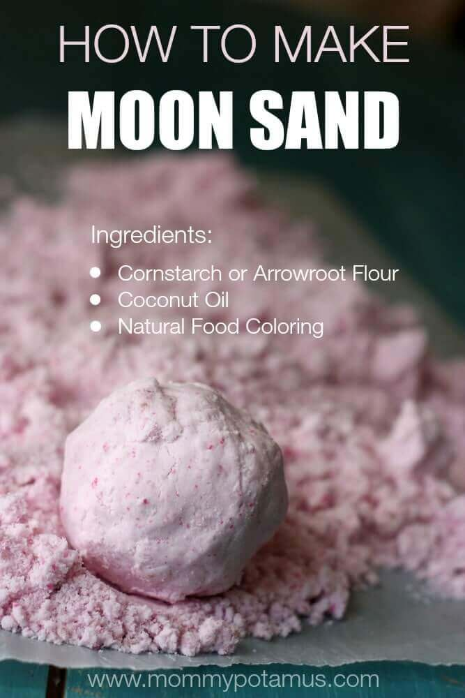 Moon sand is squishy & crumbly, & it crunches like a bean bag when you squeeze it. You can mold with it, or you can smash it. Here's how to make it.