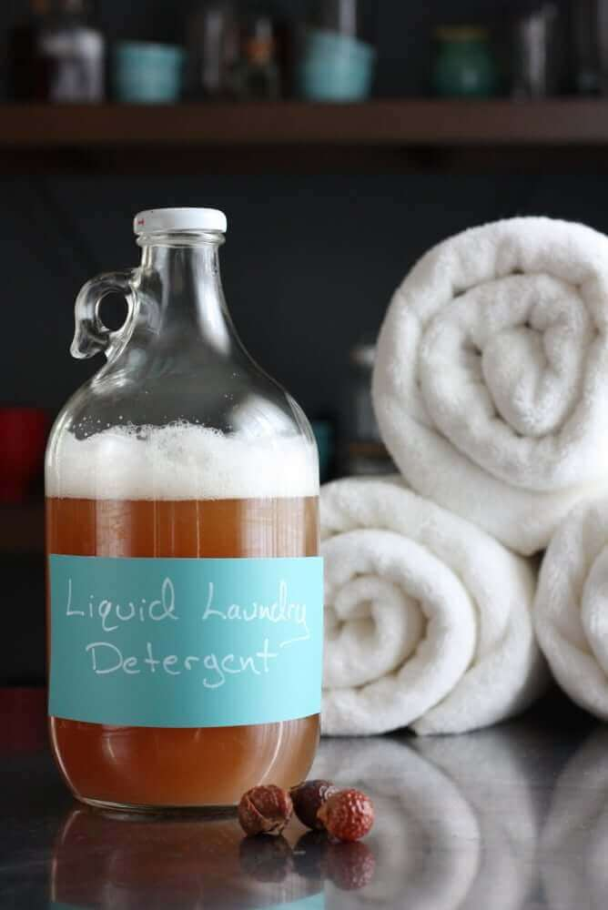 Easy homemade liquid laundry detergent made from soap nuts. Great for regular laundry AND cloth