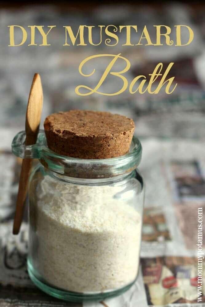 Glass jar of homemade mustard bath powder