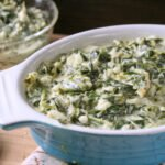 creamed spinach in a casserole dish