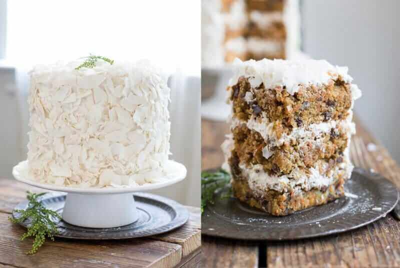 Side-by-side photos of a whole gluten-free carrot cake and a slice of carrot cake