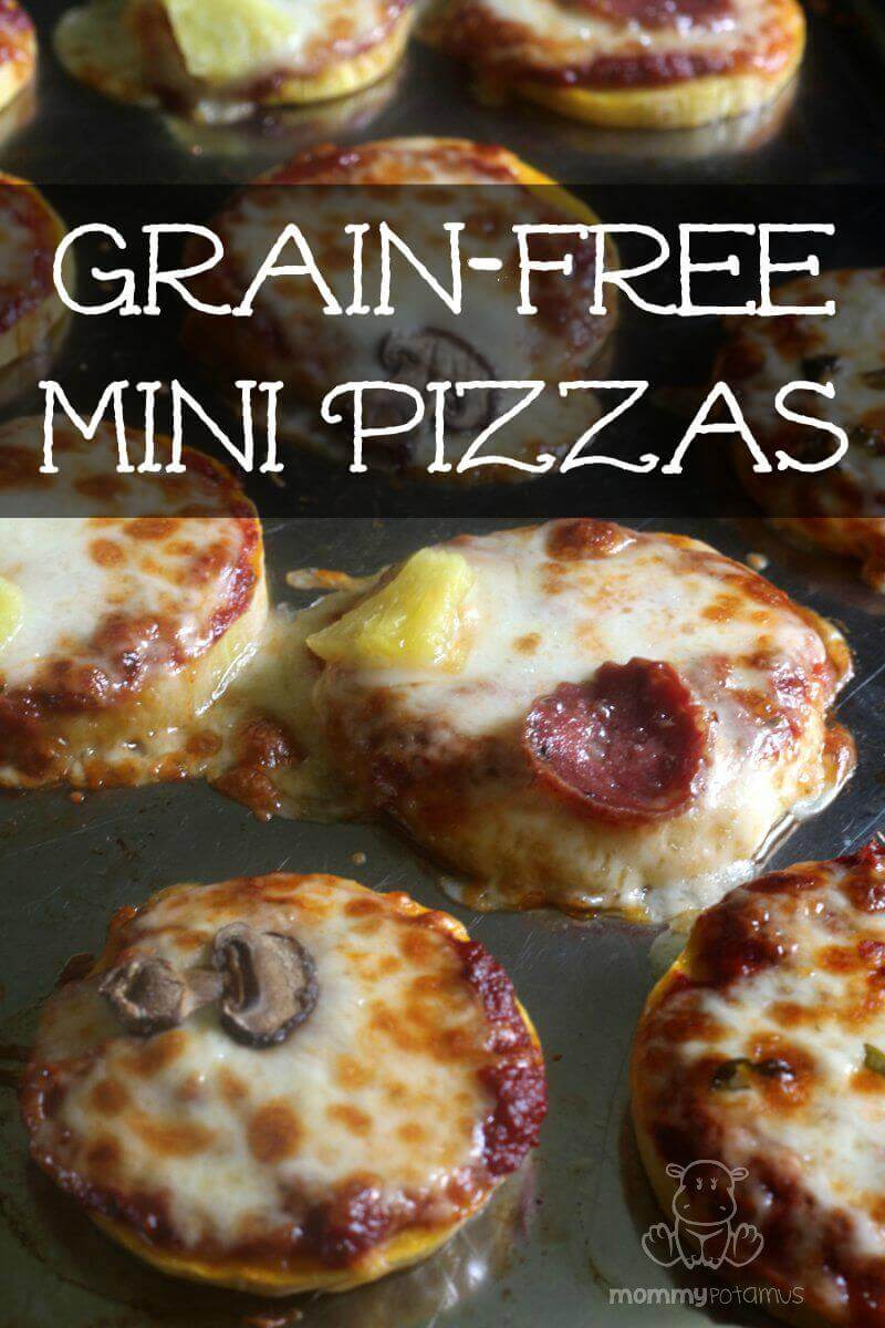 Mini-pizzas made with butternut squash rounds as a crust. So easy and kids love them!