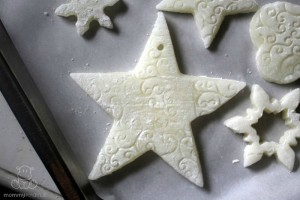 soft dough star ornament ready for baking