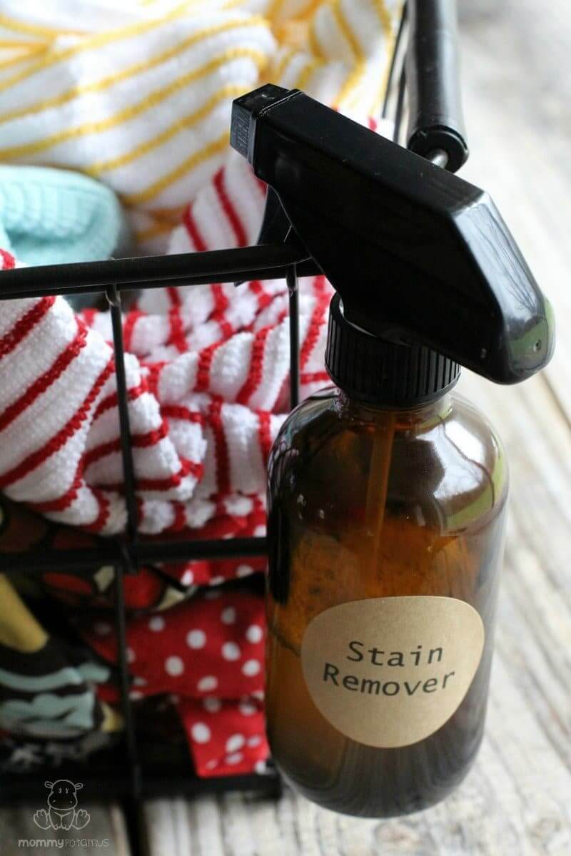 Stain Remover Recipe - This homemade stain remover was the best when tested against several other recipes - it works beautifully on ketchup, grass stains, oil stains, and those mystery stains you don't notice until something has already been washed and dried. Before and after photos in the post!