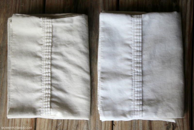 Avoiding bleach, but all the natural alternatives you've tried seem like total failures? I've found the laundry unicorn – a natural bleach alternative that really does work to whiten your whites! The effectiveness of this simple homemade bleach alternative speaks for itself. These two pillow cases from my attic were the same color before I treated one of them.