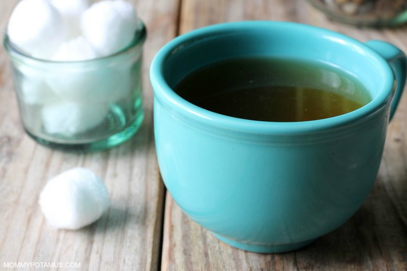 Tea and cotton balls