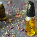 clear pump bottle of homemade face serum