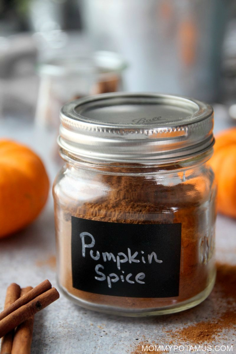 Close up of pumpkin spice blend in jar