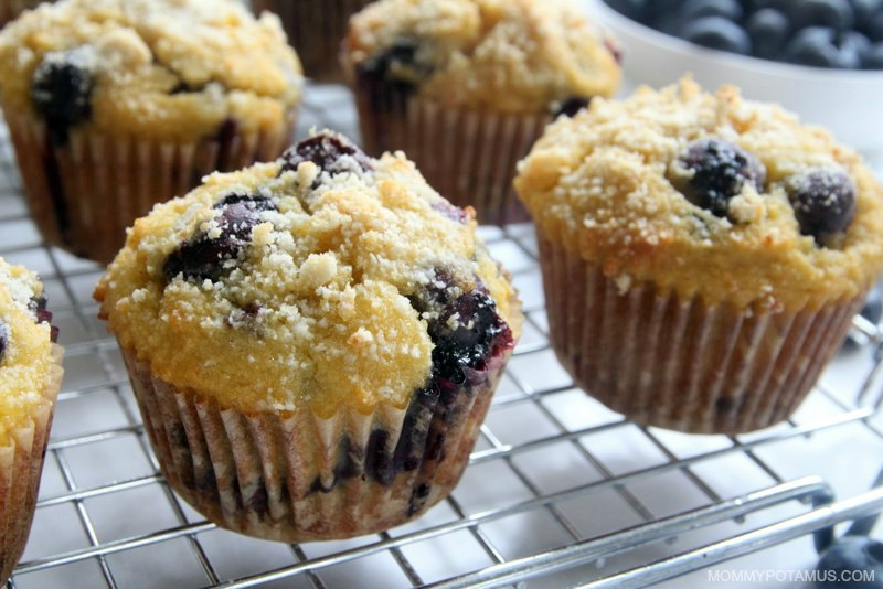 Gluten-free blueberry muffins on cooling rack