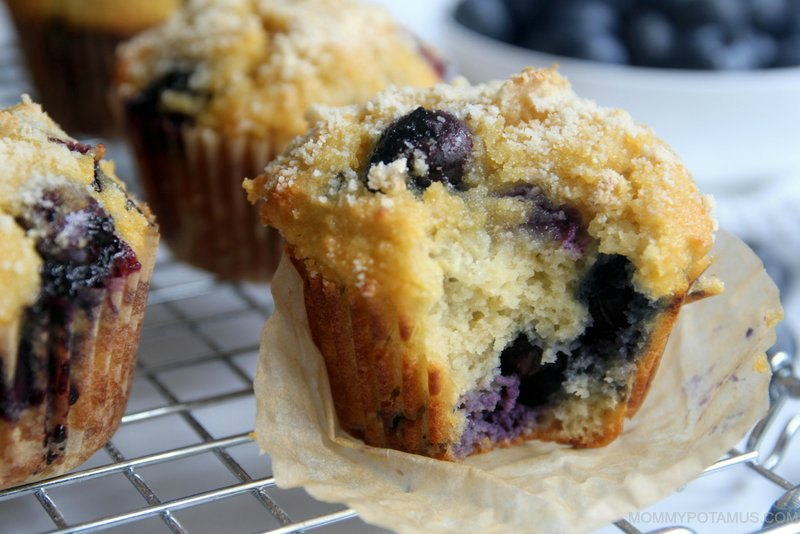 Gluten-free blueberry muffin that has been partially eaten, revealing soft inside dotted with juicy blueberries