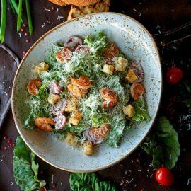 Caesar salad in bowl