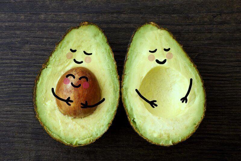 fresh avocado cut in half