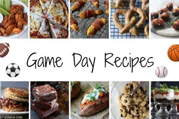 Collage of game day recipes