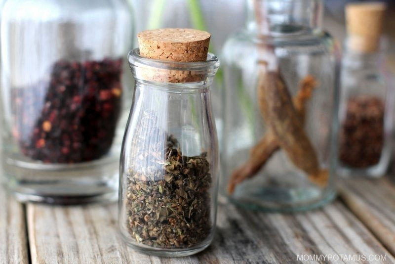 Dried holy basil leaf in apothecary jar