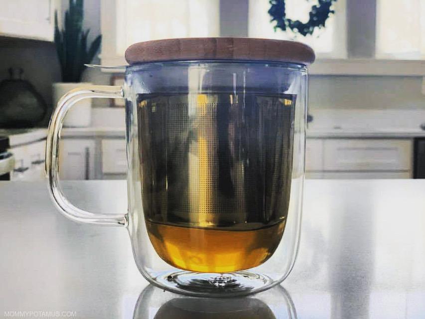 Holy basil tea in a mug