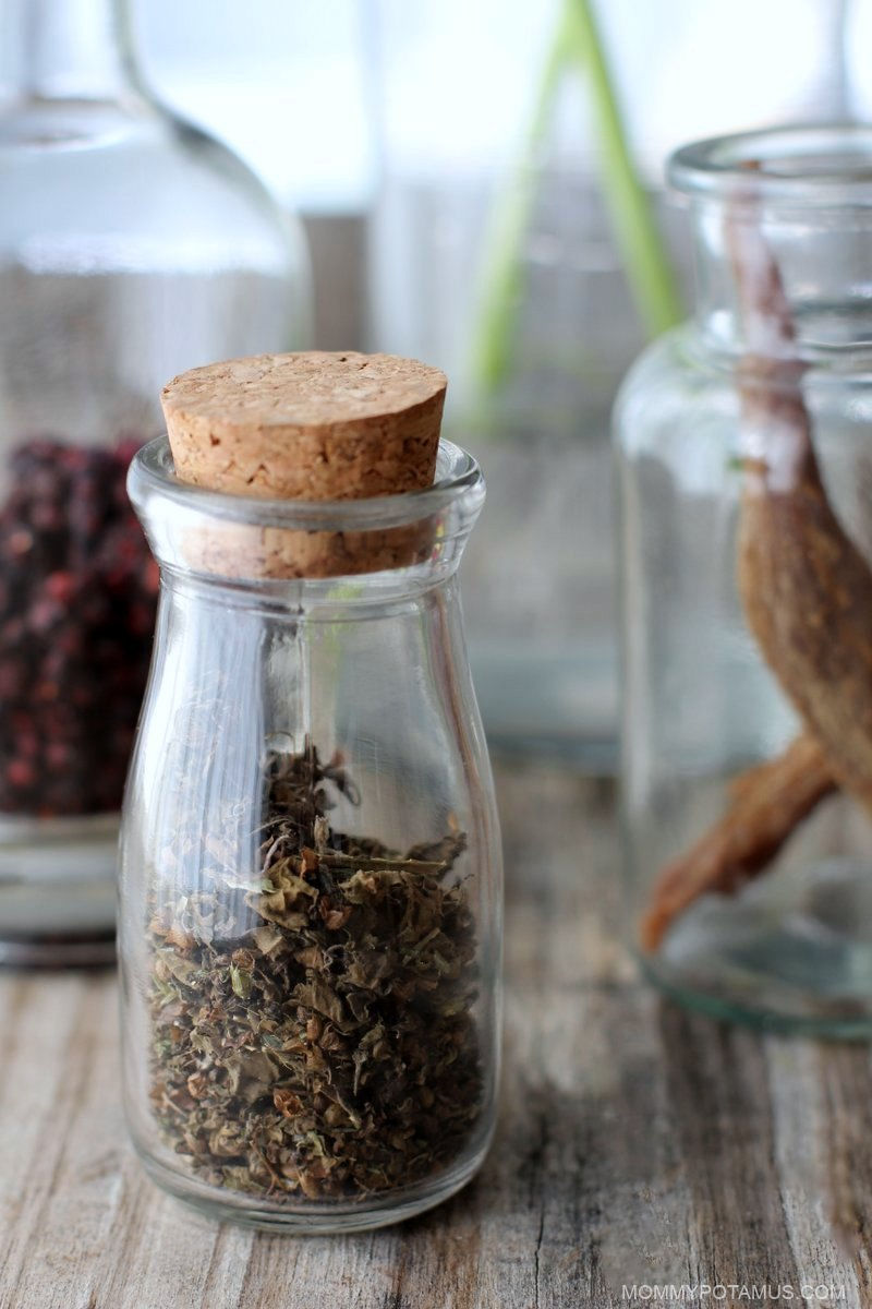 Close up view of dried holy basil leaves in jar