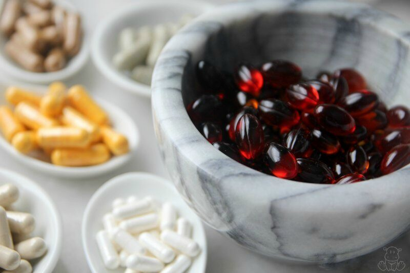 Natural supplements in ceramic bowls