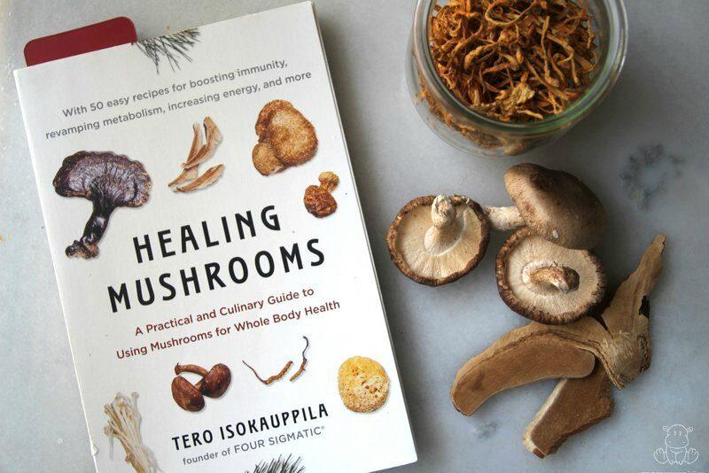Photo of Healing Mushrooms book and collection of medicinal mushrooms