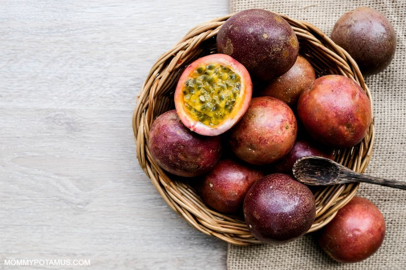 Bowl of passion fruit, which is also called maypop
