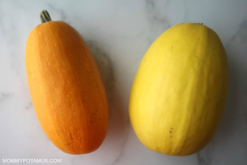 two varieties of spaghetti squash side by side