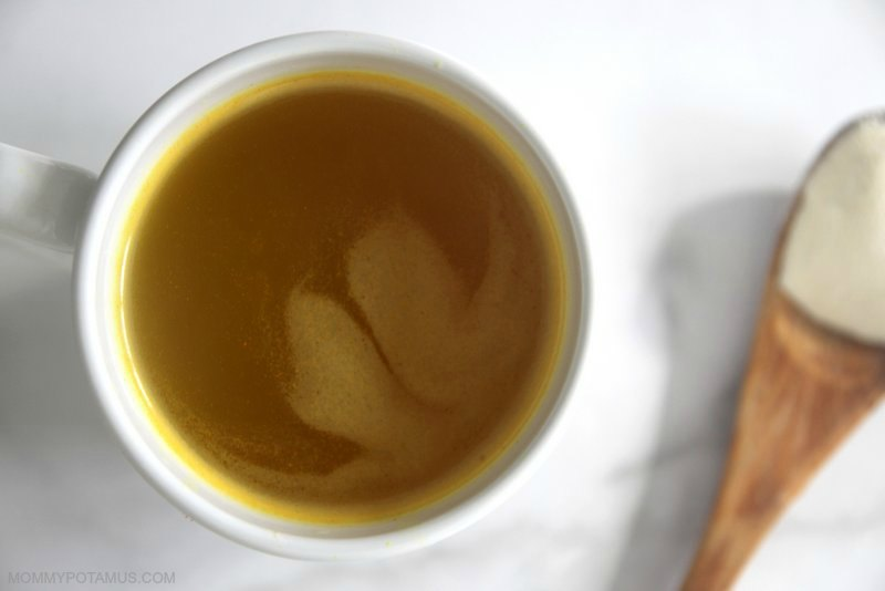 Cup of bone broth and spoonful of collagen protein for bone healing