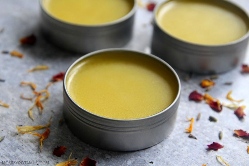 Homemade hand salve in round metal tins