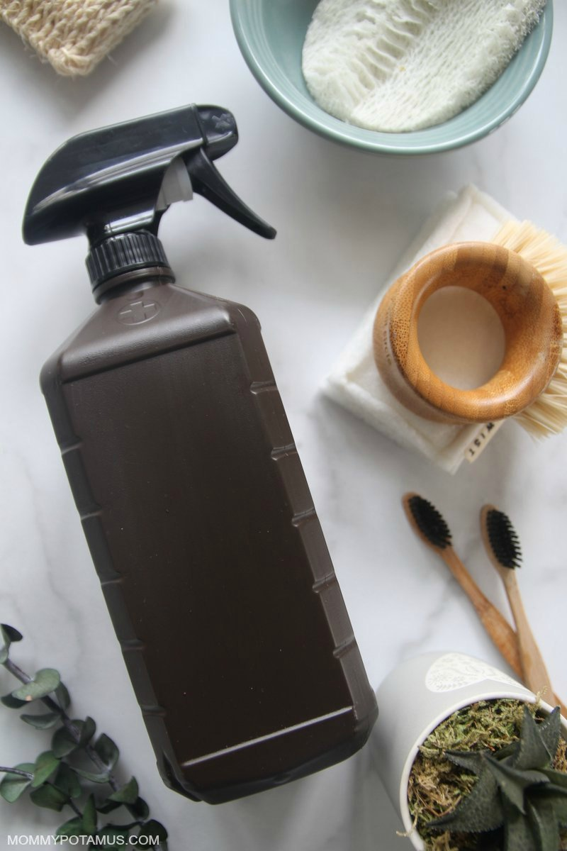 Hydrogen peroxide with cleaning sponge, bristle brush and other supplies