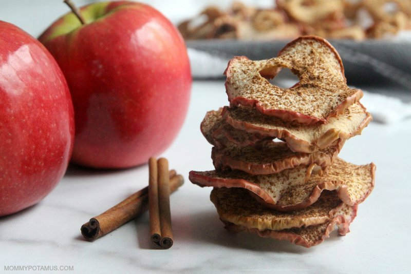 Apple chips on counter next to cinnamon sticks and fresh apples
