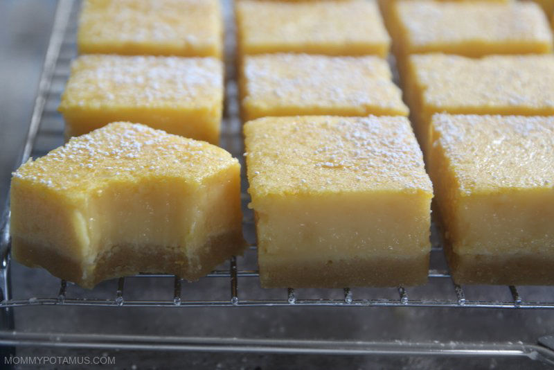 Gluten-free lemon bars on a rack