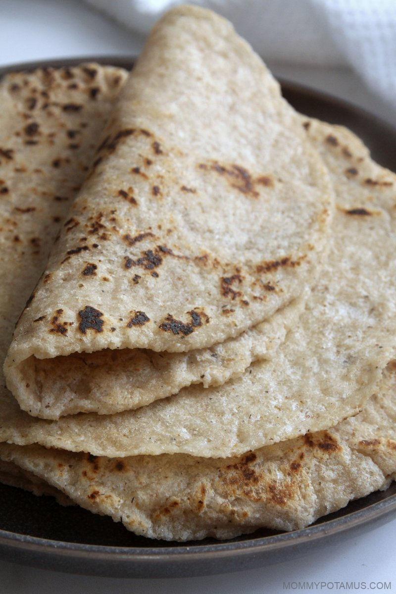 Overhead few of gluten-free flour tortillas