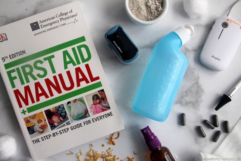 Overhead view of home first aid kit supplies
