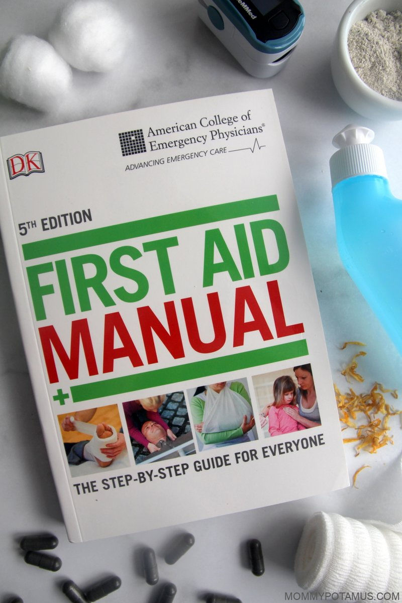 Overhead view of first aid manual and supplies
