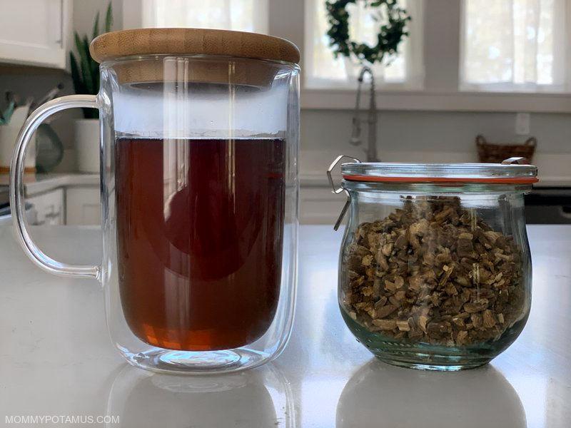 Burdock root tea on counter